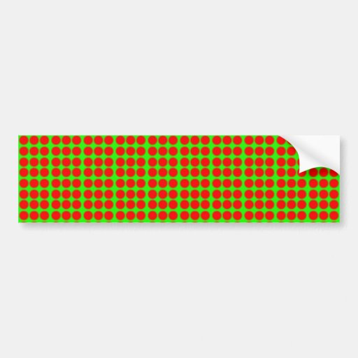 Pattern: Green Background with Red Circles Bumper Sticker
