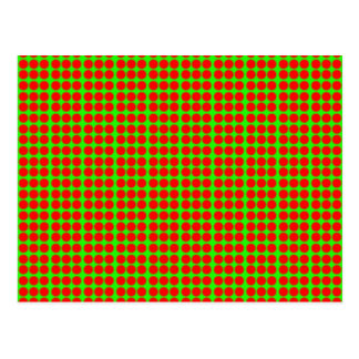 Pattern: Green Background with Red Circles Postcard