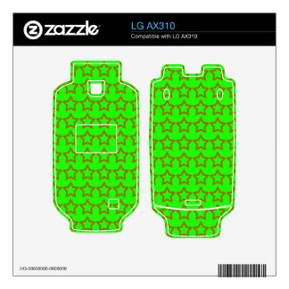 Pattern Green Background with Red Stars Decal For LG AX310