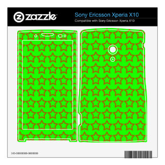 Pattern: Green Background with Red Stars Xperia X10 Mini Pro Skins