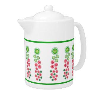Pattern Green Border Teapot