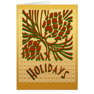 Pattern Holiday pine cones Cards