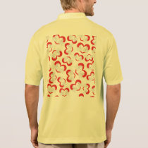 Pattern illustration peace doves with heart polo shirt