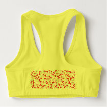 Pattern illustration peace doves with heart sports bra