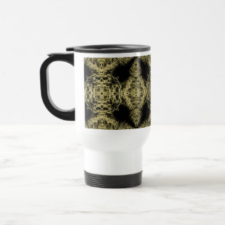 Pattern in Black and Gold Color. Travel Mug