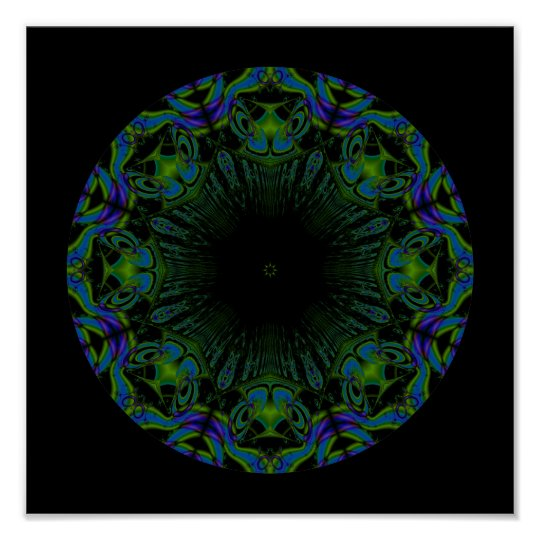 Pattern in Black and Peacock Colors. Poster