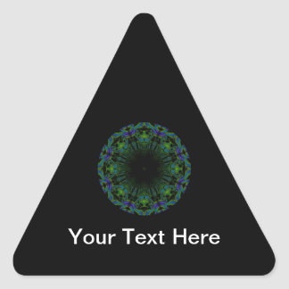 Pattern in Black and Peacock Colors. Triangle Sticker
