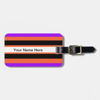 Pattern in Black White Violet Orange Stripes Luggage Tag