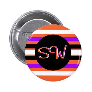 Pattern in Black White Violet Orange Stripes Pinback Button