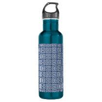 Pattern in Blue & White Stainless Steel Water Bottle