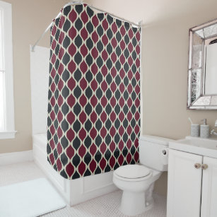 Pattern In Cerise Olive Green And White Shower Curtain