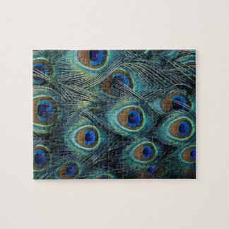 Pattern in male peacock feathers jigsaw puzzle