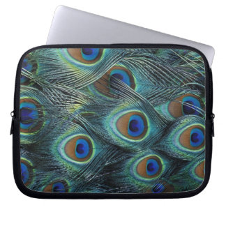 Pattern in male peacock feathers laptop computer sleeve