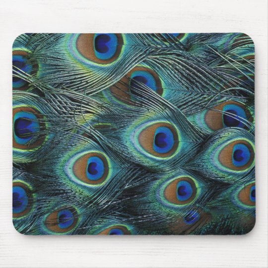 Pattern in male peacock feathers mouse pad