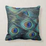 Pattern in male peacock feathers pillow