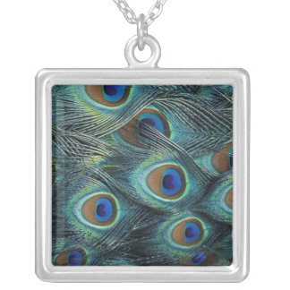 Pattern in male peacock feathers square pendant necklace