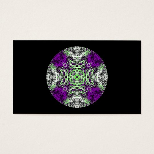 Pattern in Purple, Lime Green, Black and White. Business Card