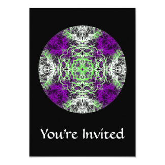 Pattern in Purple, Lime Green, Black and White. Card