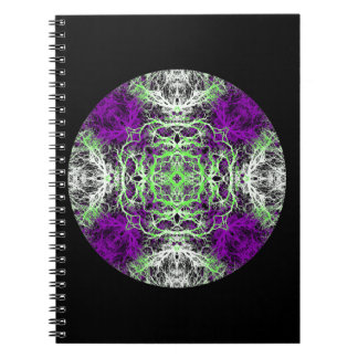Pattern in Purple, Lime Green, Black and White. Notebook