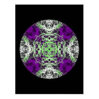 Pattern in Purple, Lime Green, Black and White. Postcard