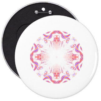 Pattern in Red, Orange and Purple. 6 Inch Round Button