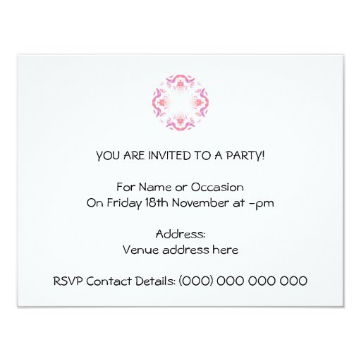 Pattern in Red, Orange and Purple. 4.25x5.5 Paper Invitation Card