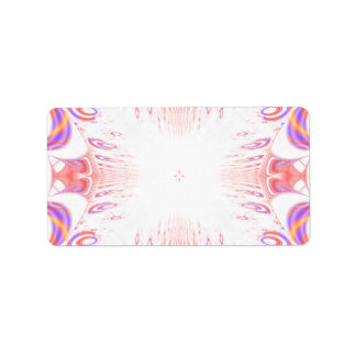 Pattern in Red, Orange and Purple. Label
