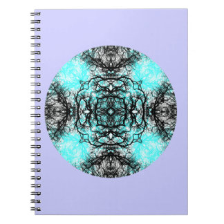 Pattern in Turquoise and Black, on Lilac Purple. Spiral Note Books