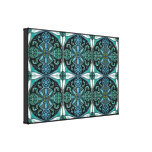 Pattern inspired by Burmese temple ceilings - Teal Canvas Print