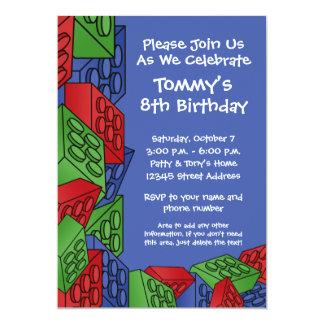 Pattern - Kids Building Blocks Birthday Party 5x7 Paper Invitation Card