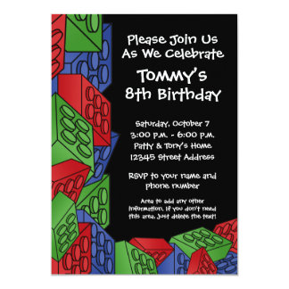 Pattern - Kids Building Blocks Birthday Party Card
