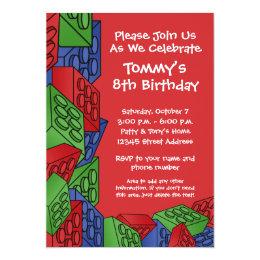 Pattern - Kids Building Blocks Birthday Party Card