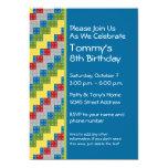 "Pattern - Kids Building Blocks Birthday Party 5"" X 7"" Invitation Card"