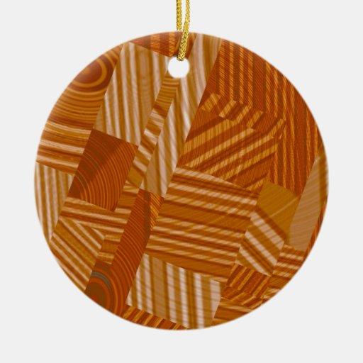 pattern mix, orange christmas tree ornament