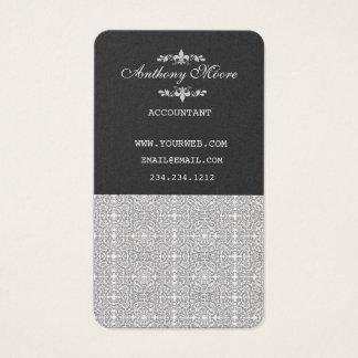 Pattern Modern Vintage Damask Black Chic Designer Business Card