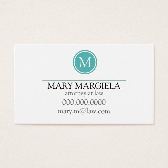 Pattern Monogram Business Card Blue)
