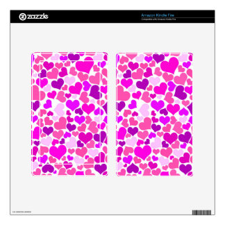 Pattern Monogram Confetti Hearts Cute Girly Pink Decal For Kindle Fire