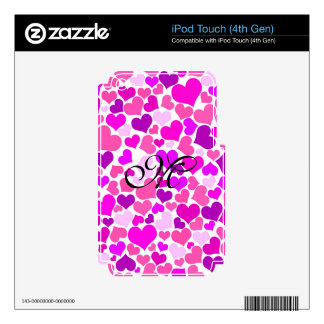 Pattern Monogram Confetti Hearts Cute Girly Pink iPod Touch 4G Decal