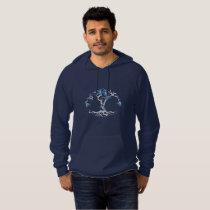 Pattern NO.4: Blue & Gray Leafy Flowering Tree Hoodie