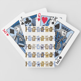 pattern of a toy teddy bear bicycle playing cards