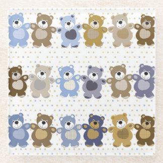 pattern of a toy teddy bear glass coaster
