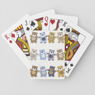 pattern of a toy teddy bear playing cards