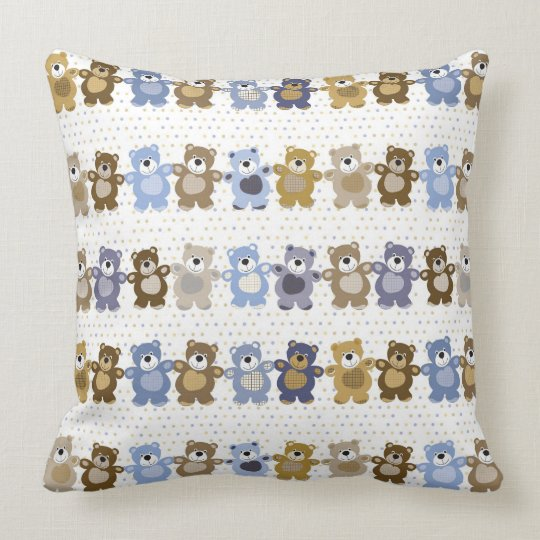 pattern of a toy teddy bear throw pillow