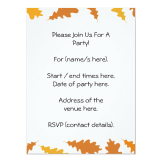 Pattern of Autumn Leaves. 6.5x8.75 Paper Invitation Card