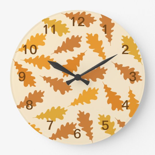 Pattern of Autumn Leaves. Large Clock