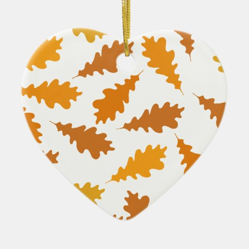 Pattern of Autumn Leaves. Double-Sided Heart Ceramic Christmas Ornament