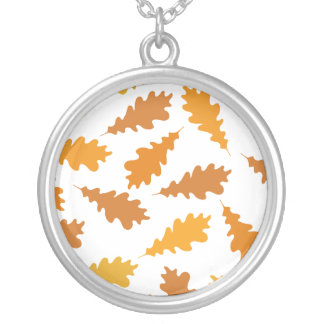 Pattern of Autumn Leaves. Round Pendant Necklace