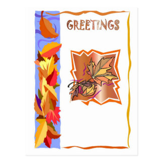 Pattern of autumnal leaves postcard