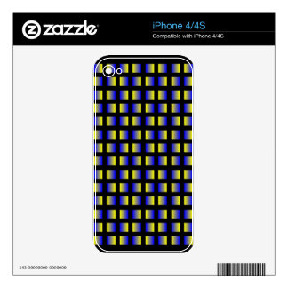 Pattern of blue and yellow squares. decals for the iPhone 4