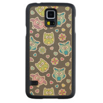 pattern of cartoon owls carved maple galaxy s5 case